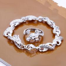 Cool 925Sterling  Silver Dragon Men Chain Bracelet Ring Set GS094