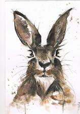 ORIGINAL WATERCOLOUR PAINTING PRINT CONTEMPORARY SIGNED POP ART ABSTRACT HARE 5