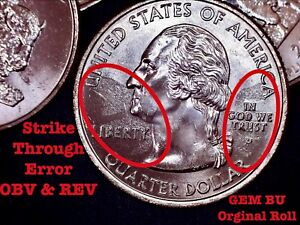 2005 P Kansas State Quarter Error Coin - Strike Through Error **GEM**