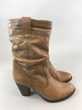 Dune Size 39 US8 UK6 Brown Leather Ankle Zip Up Slouchy Heeled Booties Boost