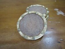 Set of 4 Gold Hollywood Regency Faux Bamboo Cork Coasters