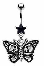Black Emo Goth Skulls Butterfly Belly Navel Bar Piercing 10mm 14G