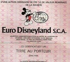 Euro Disneyland Aktie Paris 1983 Frankreich Micky Maus Park Hotel Disney France.