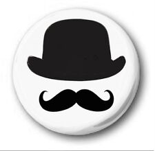 BOWLER HAT & MOUSTACHE  - 1 inch / 25mm Button Badge -Novelty Cute Mustache Tash