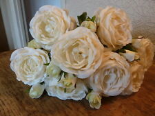 Bunch of 10 Antique White Roses, Artificial Cream Luxury Ivory Faux Silk Flowers