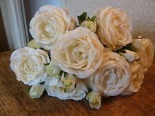 Montón de 10 impresionante Blanco / Crema De Rosas Artificiales De Lujo Flores De Seda