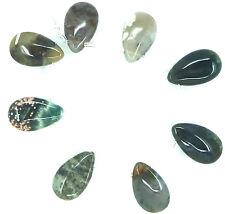 8 NATURAL Mixed Colors OCEAN JASPER Flat Briolette / Pear 15x25mm Beads K2777