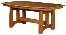 Amish Mission Craftsman Trestle Dining Table Solid Wood Rectangle Boat Colebrook