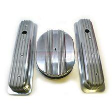 "SBC Chevy Aluminum Nostalgic Retro Fin Centerbolt Valve Cover 12"" Air Cleaner"