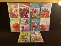 Lot of 10 Sesame Street DVDs Elmo Cookie Monster Big Bird Count Oscar Bert Ernie