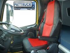 TRUCK SEAT COVERS COMPATIBLE WITH VOLVO FH3 2008-2013 ECO LEATHER  (BLACK-RED)