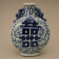 OLD CHINESE BLUE AND WHITE PORCELAIN HAND-DRAWING FLOWER VASE
