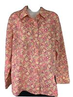 Basic Editions Women's Size XL Pink Multi Color Floral Long Sleeve Button Up EUC