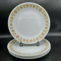 """Set of 4 Vintage Corelle Gold Butterfly Dinner Plates 10 1/4"""" Harvest Yellow"""