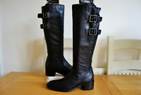 CLARKS VALANA DIEM BLACK LEATHER KNEE HIGH FLEXIBLE ADJUSTABLE BOOTS UK 5D £150