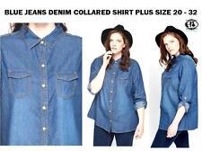 Damen Plus Größe 18-32 Denim Kragen Hemd blau Jeans XXL Kurve Retro Bluse Top