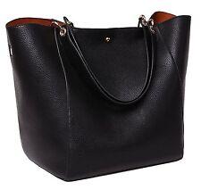 Tibes 2016 Fashion Waterproof Shoulder Bag Synthetic Leather Handbag Black