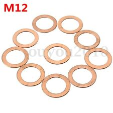 10x M12 12mm Copper Crush Washer Flat Ring Clutch Oil Brake Line Seal Hose Banjo