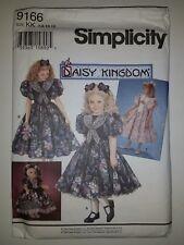 "SIMPLICITY DAISY KINGDOM 9166//9970 GIRLS  7-12 /& 17/"" DOLL/'S DRESS  PATTERN FF UC"