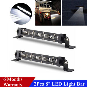 """2x 8"""" Off Road SUV Roof Luggage Rack 60W 6000K LED Light Bar Driving Lamp IP68"""