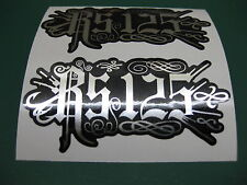 2 RS125 RELENTLESS STYLE STICKERS MIRROR SILVER ON BLACK