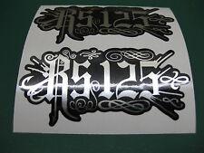 2 Rs125 implacable estilo pegatinas Espejo De Plata En Negro