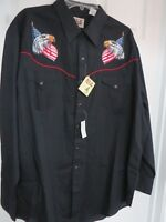 Ely Cattleman Men's Western Shirt  Black Embroidered  Eagle US Flag XXL    NWT