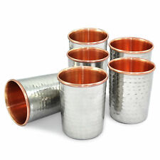 Tumbler 300 Ml Health yoga Copper Water cup Silver Polished Hammered Set of-6