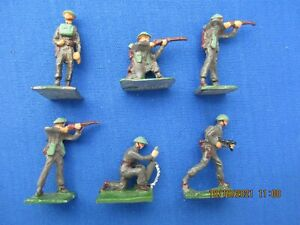 """S.A.E 30 MM LEAD FIGURES """"BRITISH INFANTRY IN ACTION"""" WW II SIX (6) PIECES"""