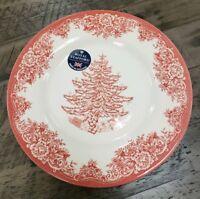 BRAND NEW (4) ROYAL STAFFORD RED CHRISTMAS TREE HOLIDAY DINNER PLATES HOME DECOR