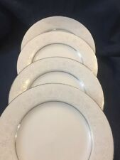 Set Of 4 Salad Plates Cx430 I C Made In China Platinum Trim Lace Flower