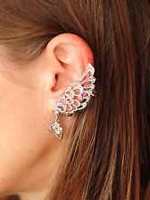 Fashionable Clip On Butterfly Earrings with Crystals Silver Plated UK