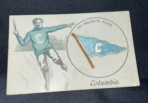 "1908 Columbia University VTG Postcard ""My Favorite Flag"" Saxe Embroidery"