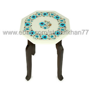 Turquoise Inlay Side Table White Marble Inlay Bedroom End Table Furniture