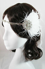 WHITE GATSBY VINTAGE 1920S COSTUME FLAPPER FEATHER FASCINATOR HEADPIECE PRUDENCE