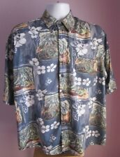VTG Mens HENRY MORELL Grey Multi Floral / Pictures Hawaiian Shirt Size Large(E11