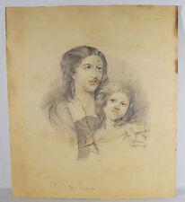 Antique Original Pencil Drawing THE MOTHERLESS Sadie Barlett Hanover Maine