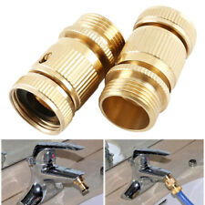 Garden Hose Quick Connector. ¾ inch GHT Brass Easy Connect Fitting Male & Female