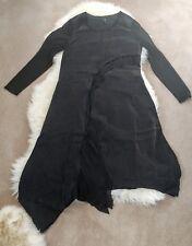 WOW! Stella Carakasi lagenlook oversize black cupro knit long sleeve Midi Dress