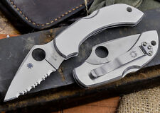 """Spyderco Dragonfly SS Knife 2.32"""" Serrated Leaf Shaped Blade and S. Steel Handle"""