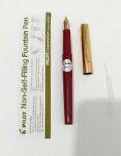Pilot 'Tank' Non-Self-Filling Fountain Pen - Fine Nib- eye dropper - Red Body