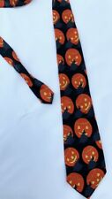 Aesop Silk Mill Neck Tie Pumpkin And Witch Halloween Polyester
