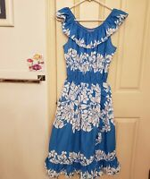 Vintage Aikane Hawaiian Dress Blue White Hibiscus Womans Size Large