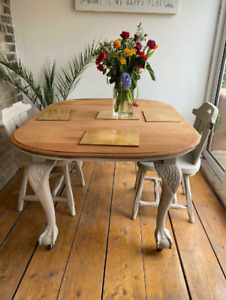 Antique Dining Table refurbished Ball and Claw Feet