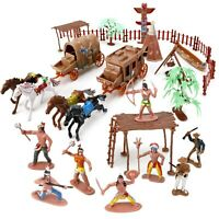 Wild West Cowboys and Native American Indians Plastic Figure Soldiers Toys Bucke