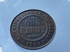 Rare 1933 KGV Penny 8 Pearls UNC 1d Brown With Some Purple Lustre