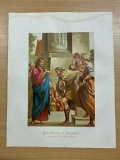 "c1880s PILGRIMS PROGRESS ""THE CALLING OF MATTHEW"" JESUS LARGE RELIGIOUS PRINT"