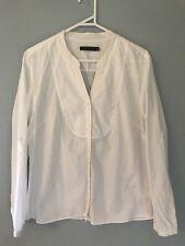 💖 SPORTSCRAFT white Cotton Textured Shirt Blouse Sz 16 XL