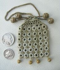 Antique Chatelaine Crochet Gold Steel Micro Bead Filigree Tassel Coin Purse 1890