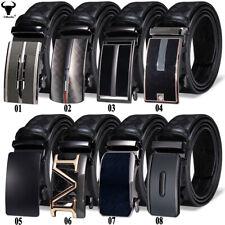 Formal Black Leather Mens Belts Automatic Ratchet Buckles Adjustable Large Belt